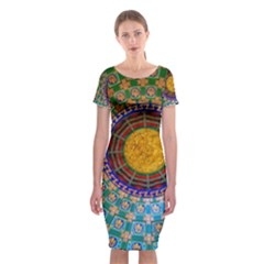 Temple Abstract Ceiling Chinese Classic Short Sleeve Midi Dress