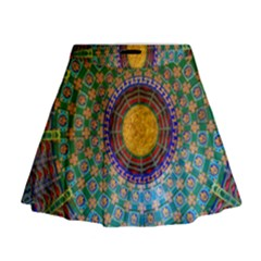 Temple Abstract Ceiling Chinese Mini Flare Skirt