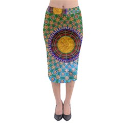 Temple Abstract Ceiling Chinese Midi Pencil Skirt