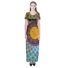 Temple Abstract Ceiling Chinese Short Sleeve Maxi Dress