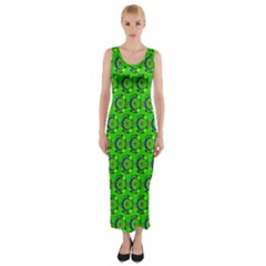Abstract Art Circles Swirls Stars Fitted Maxi Dress