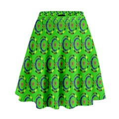 Abstract Art Circles Swirls Stars High Waist Skirt