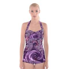 Abstract Art Fractal Art Fractal Boyleg Halter Swimsuit
