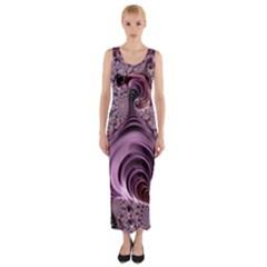 Abstract Art Fractal Art Fractal Fitted Maxi Dress