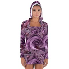 Abstract Art Fractal Art Fractal Women s Long Sleeve Hooded T-shirt