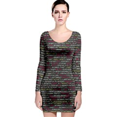 Full Frame Shot Of Abstract Pattern Long Sleeve Bodycon Dress