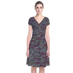 Full Frame Shot Of Abstract Pattern Short Sleeve Front Wrap Dress