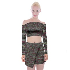 Full Frame Shot Of Abstract Pattern Off Shoulder Top With Skirt Set