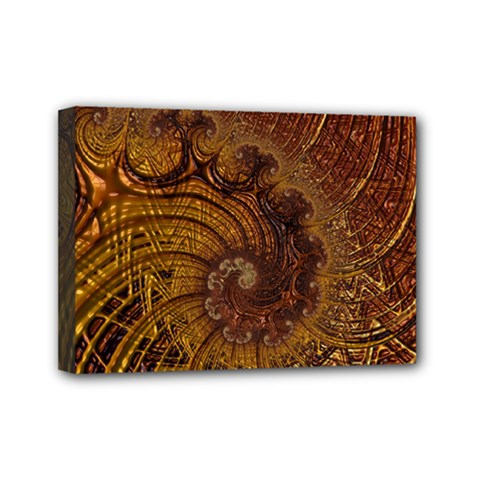 Copper Caramel Swirls Abstract Art Mini Canvas 7  X 5