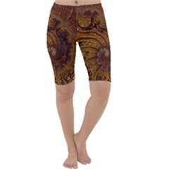 Copper Caramel Swirls Abstract Art Cropped Leggings