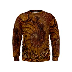 Copper Caramel Swirls Abstract Art Kids  Sweatshirt