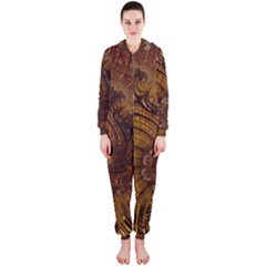 Copper Caramel Swirls Abstract Art Hooded Jumpsuit (Ladies)