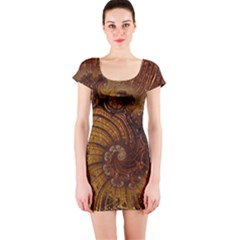 Copper Caramel Swirls Abstract Art Short Sleeve Bodycon Dress