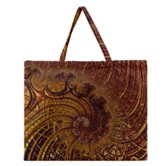 Copper Caramel Swirls Abstract Art Zipper Large Tote Bag