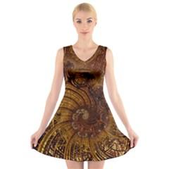 Copper Caramel Swirls Abstract Art V Neck Sleeveless Skater Dress