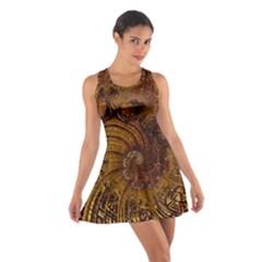 Copper Caramel Swirls Abstract Art Cotton Racerback Dress