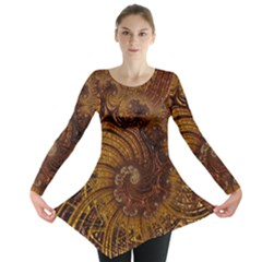 Copper Caramel Swirls Abstract Art Long Sleeve Tunic