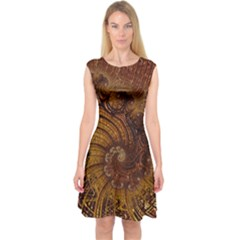 Copper Caramel Swirls Abstract Art Capsleeve Midi Dress