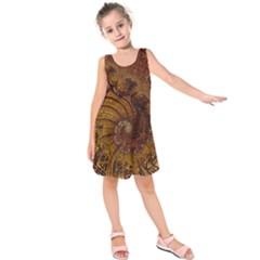 Copper Caramel Swirls Abstract Art Kids  Sleeveless Dress