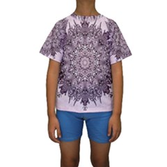 Sacred Art Shaman Shamanism Kids  Short Sleeve Swimwear
