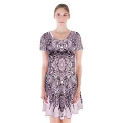 Sacred Art Shaman Shamanism Short Sleeve V-neck Flare Dress
