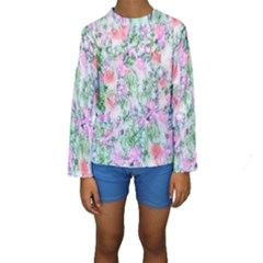 Softly Floral A Kids  Long Sleeve Swimwear