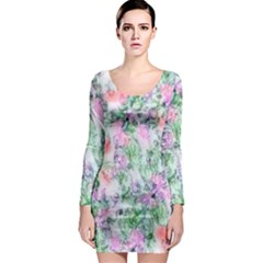 Softly Floral A Long Sleeve Bodycon Dress