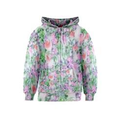 Softly Floral A Kids  Zipper Hoodie