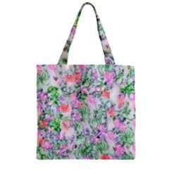 Softly Floral A Zipper Grocery Tote Bag