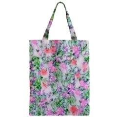 Softly Floral A Zipper Classic Tote Bag