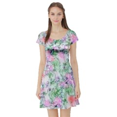 Softly Floral A Short Sleeve Skater Dress