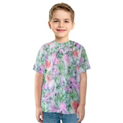 Softly Floral A Kids  Sport Mesh Tee