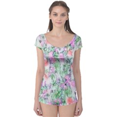 Softly Floral A Boyleg Leotard