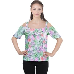 Softly Floral A Women s Cutout Shoulder Tee