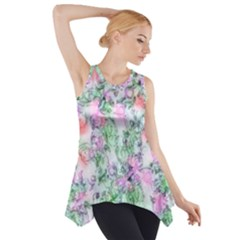 Softly Floral A Side Drop Tank Tunic