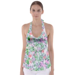 Softly Floral A Babydoll Tankini Top