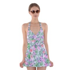 Softly Floral A Halter Swimsuit Dress