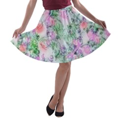 Softly Floral A A-line Skater Skirt