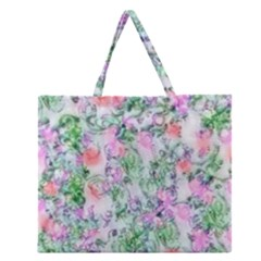 Softly Floral A Zipper Large Tote Bag