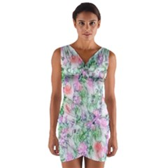 Softly Floral A Wrap Front Bodycon Dress