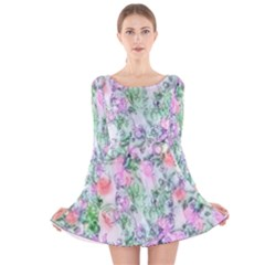 Softly Floral A Long Sleeve Velvet Skater Dress