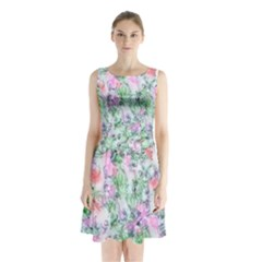 Softly Floral A Sleeveless Chiffon Waist Tie Dress