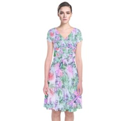 Softly Floral A Short Sleeve Front Wrap Dress