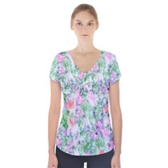 Softly Floral A Short Sleeve Front Detail Top