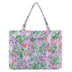 Softly Floral A Medium Zipper Tote Bag