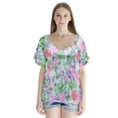 Softly Floral A Flutter Sleeve Top