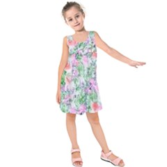 Softly Floral A Kids  Sleeveless Dress