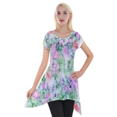 Softly Floral A Short Sleeve Side Drop Tunic