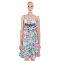 Softly Floral A Spaghetti Strap Velvet Dress