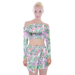 Softly Floral A Off Shoulder Top with Skirt Set